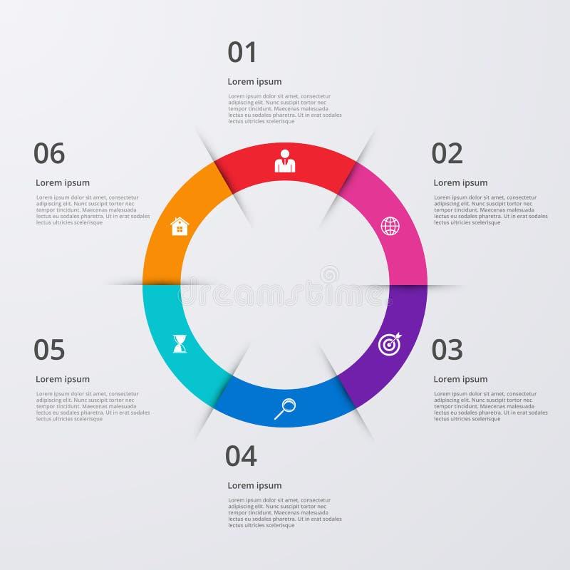 Vector illustration infographics six options.  stock illustration