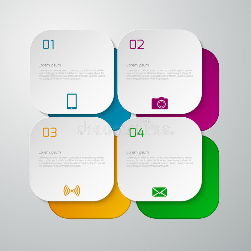 Vector illustration infographics squares with rounded corners vector illustration