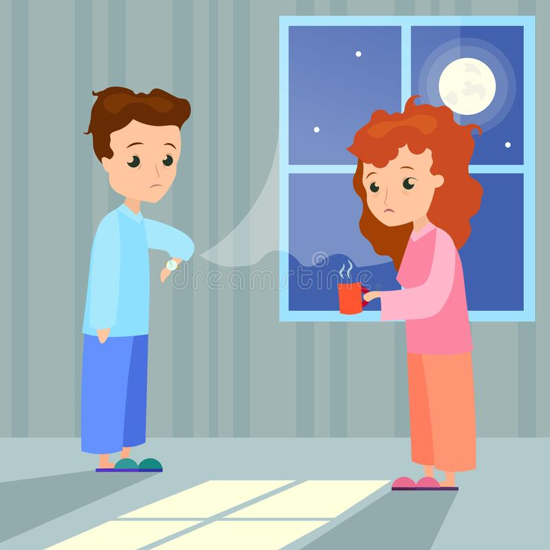 Vector illustration of insomnia concept. Woman with cup of water and man characters with insomnia or nightmare standing. In night at home background. Sleepless royalty free illustration