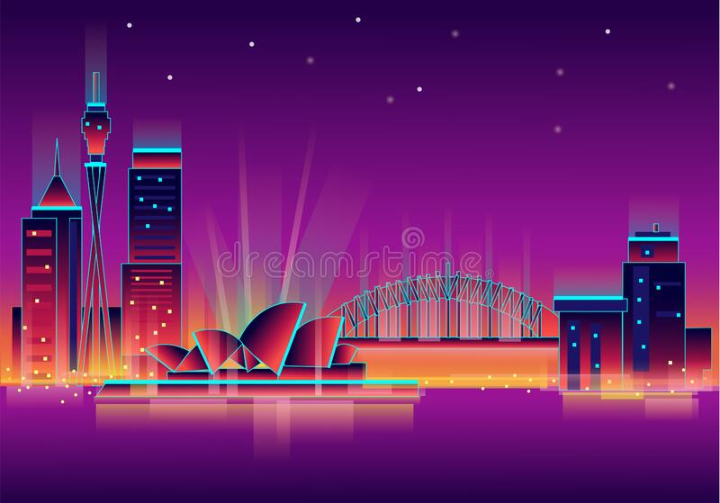 Vector illustration, inspired by 80s disco music, 3d background, neon, Sydney, Australia at sunset, theater. Vector stock illustration