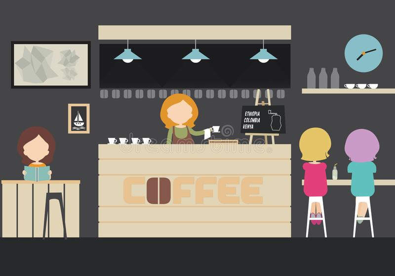 Illustration of an interior of a café, bar or restaurant with t royalty free illustration