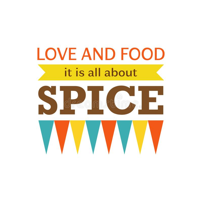 Vector illustration for interior poster. Love and food it is all about spice. Designed for web, t shirt prints and wallpaper. Isol vector illustration