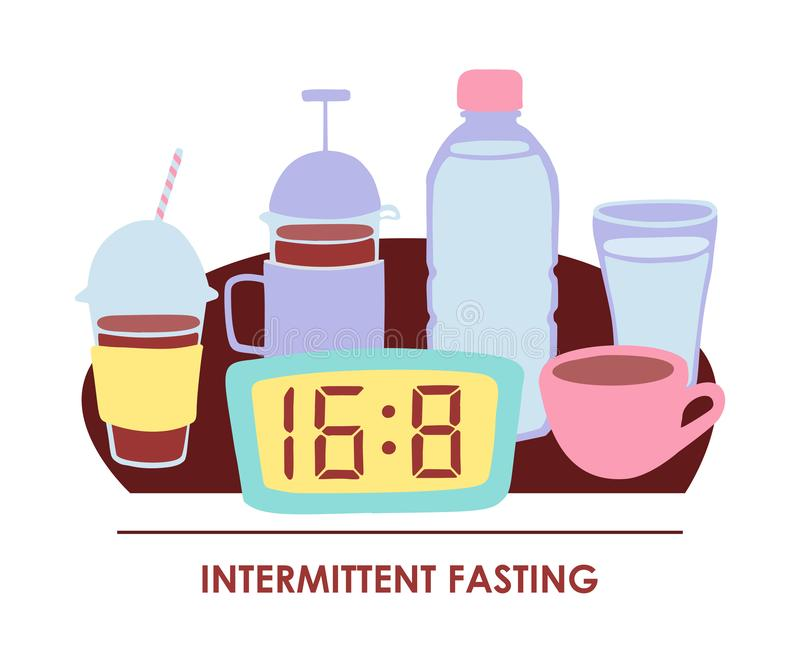 Vector illustration Intermittent fasting. Doodle clock showing time restricted eating window and allowed drinks: bottle and glass of water, tea mug, coffee cup stock illustration