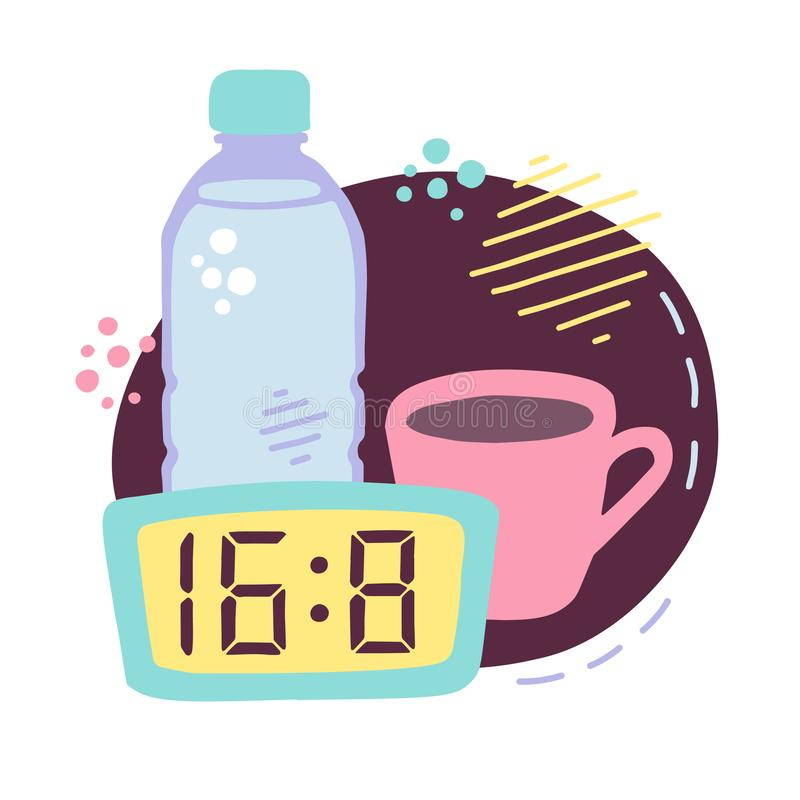 Vector illustration Intermittent fasting. Cute hand drawn bottle with water, cup of coffee and clock with the eating window. Time restricting eating image in vector illustration
