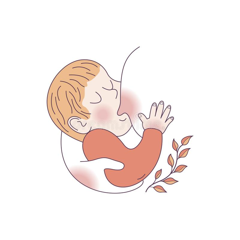 Vector illustration for international breastfeeding week. The baby sucks the mother`s breast. Linear illustration. Vector illustration, sketch style postcard for vector illustration
