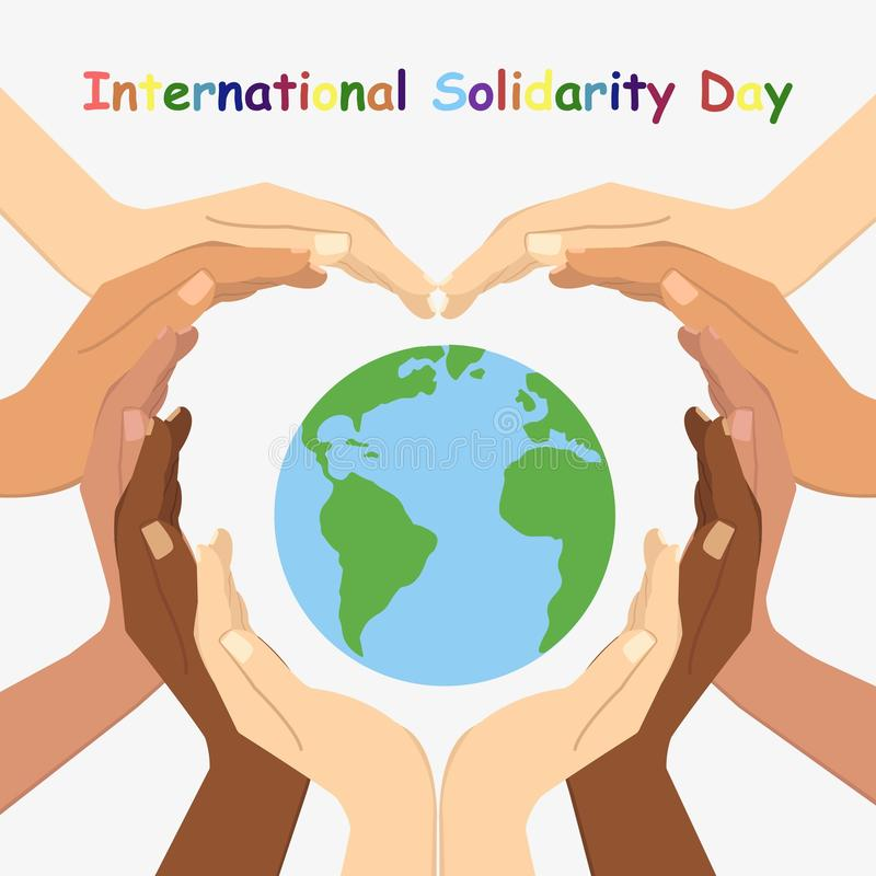 Vector illustration of International Day for Solidarity. stock photography