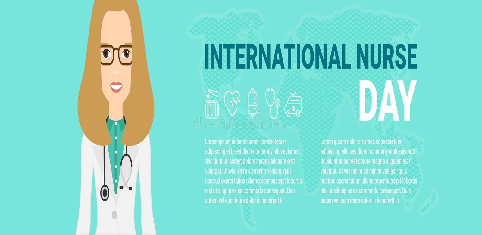 Vector illustration for International Nurse Day celebration. Can be used for poster, banner, background, icon, wallpaper stock illustration