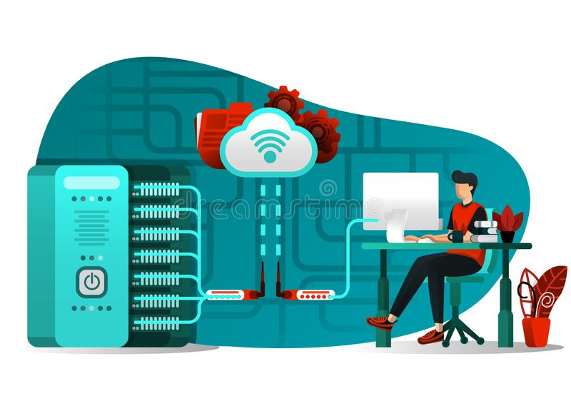 Vector illustration of internet technology 4.0, file sharing, storage security, server, data processing. people uploading big data royalty free illustration