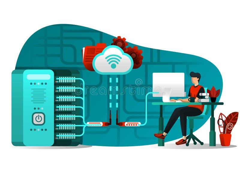Vector illustration of internet technology 4.0, file sharing, storage security, server, data processing. people uploading big data. File to central server royalty free illustration