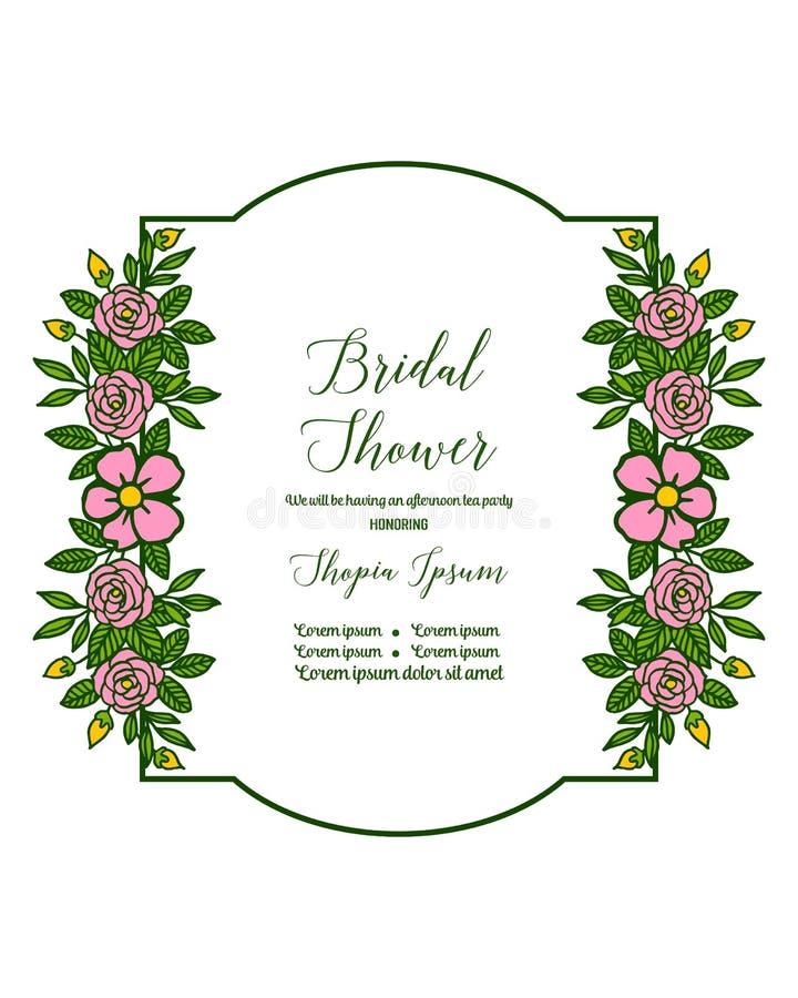Vector illustration invitation card bridal shower with various artwork rose pink flower frame. Hand drawn royalty free illustration