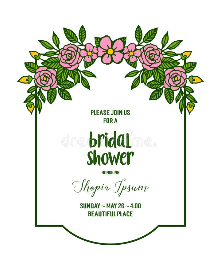 Vector illustration invitation card bridal shower with various artwork rose pink flower frame. Hand drawn stock illustration