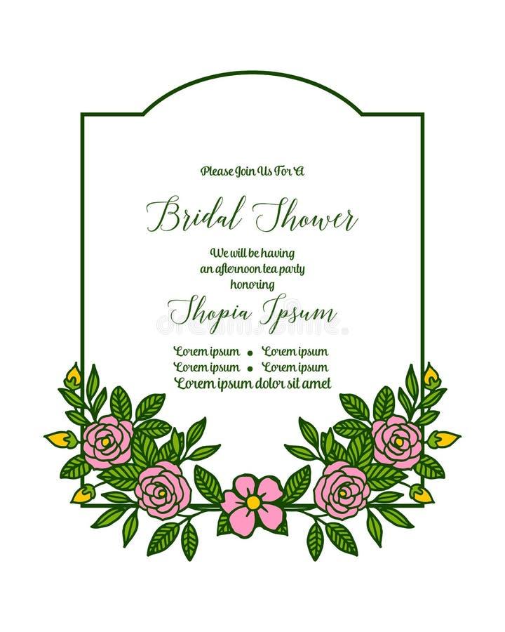 Vector illustration invitation card bridal shower with various artwork rose pink flower frame. Hand drawn vector illustration