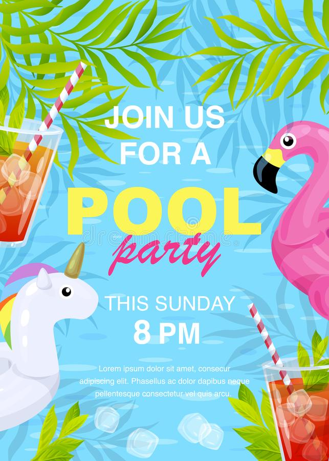 Vector pool party invitation design royalty free illustration