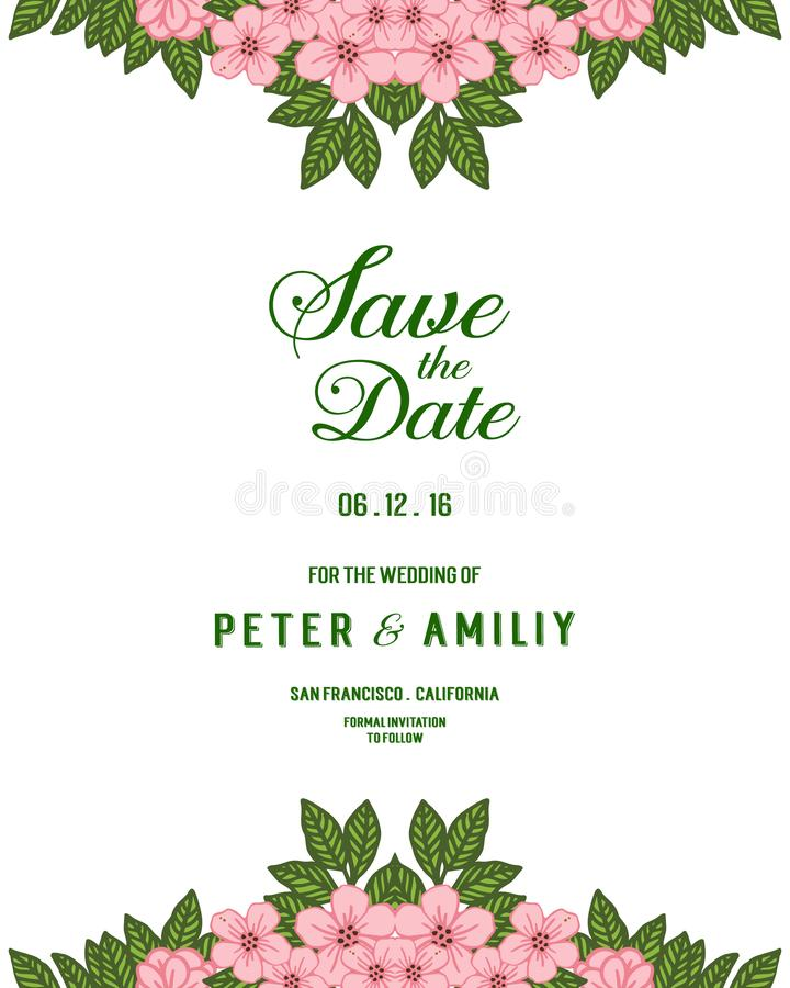 Vector illustration invitation card or wedding card with abstract leaf floral frames stock photography