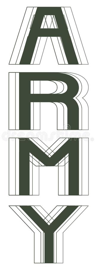 Army lettering vector illustration isolated royalty free stock photo