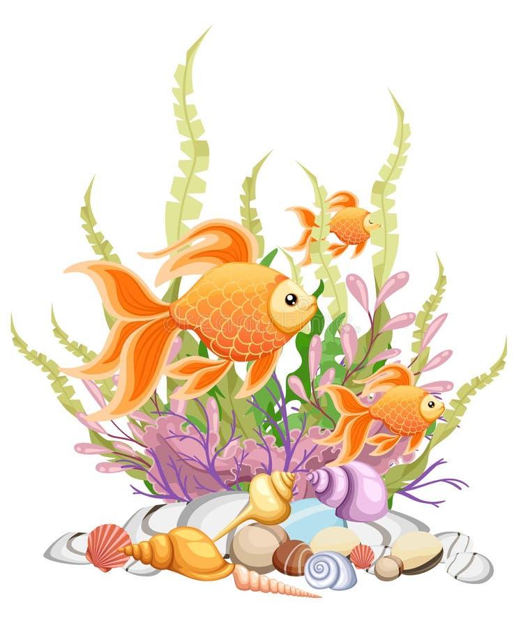 Vector illustration isolated on background Goldfish aquarium fish silhouette illustration. Colorful cartoon flat aquarium fish ico vector illustration