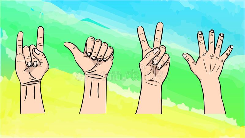 Vector illustration of the isolated gestures by hands vector illustration