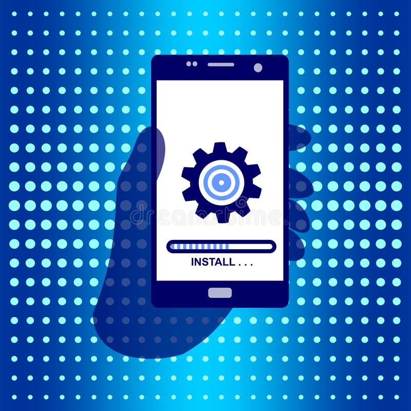 Hand Holding Phone for Business Communication. Icon install on the screen. Vector Illustration isolated for graphic and web design vector illustration