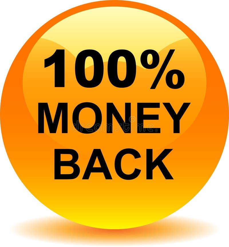 Money back button web icon orange stock illustration