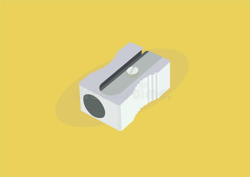 Vector Illustration Isolated of a Pencil Sharpener on Yellow Background stock illustration
