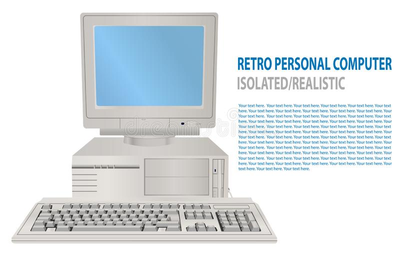 Vector illustration of isolated realistic retro personal computer. 3D Old PC with display, keyboard. Old school computer. royalty free illustration