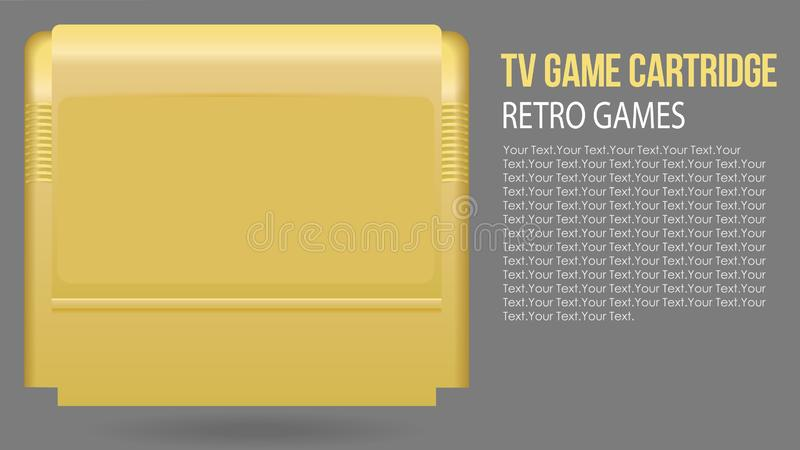 Vector illustration of isolated realistic retro TV Game cartridge in yellow plastic case. Old school gaming. stock illustration
