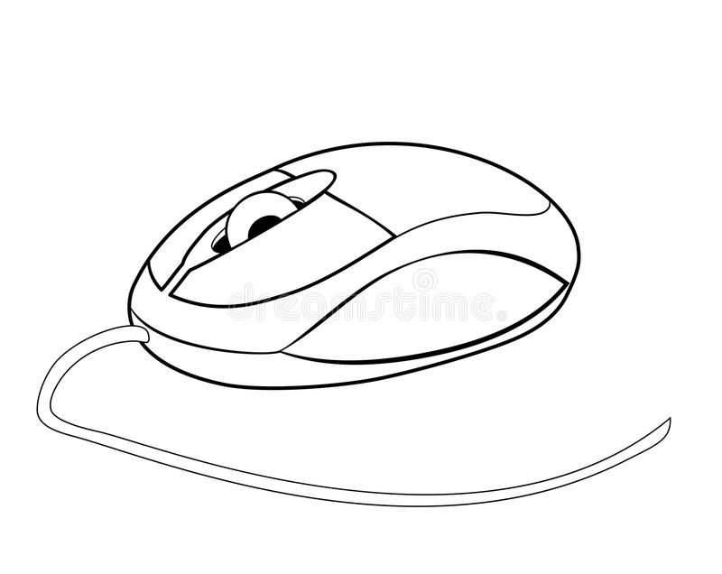 Vector illustration of pc mouse. Vector illustration, isolated small computer mouse in black and white colors vector illustration