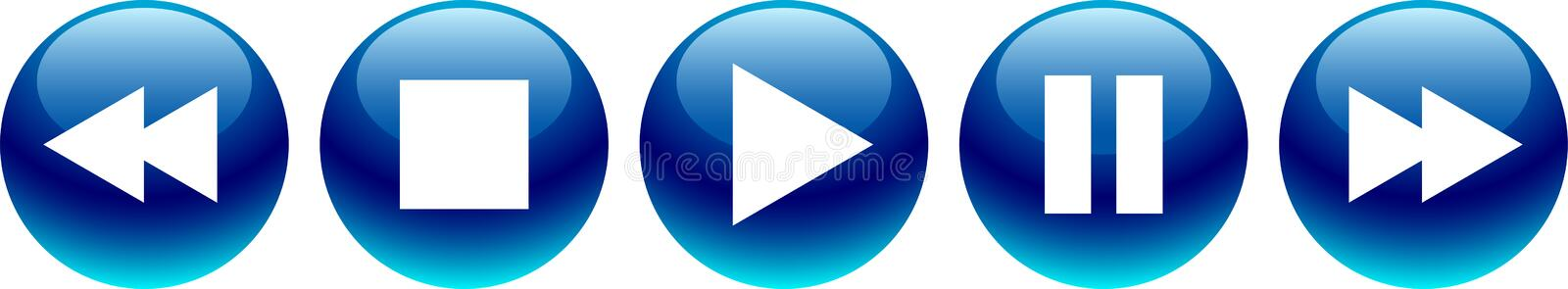 Audio video player buttons blue royalty free illustration