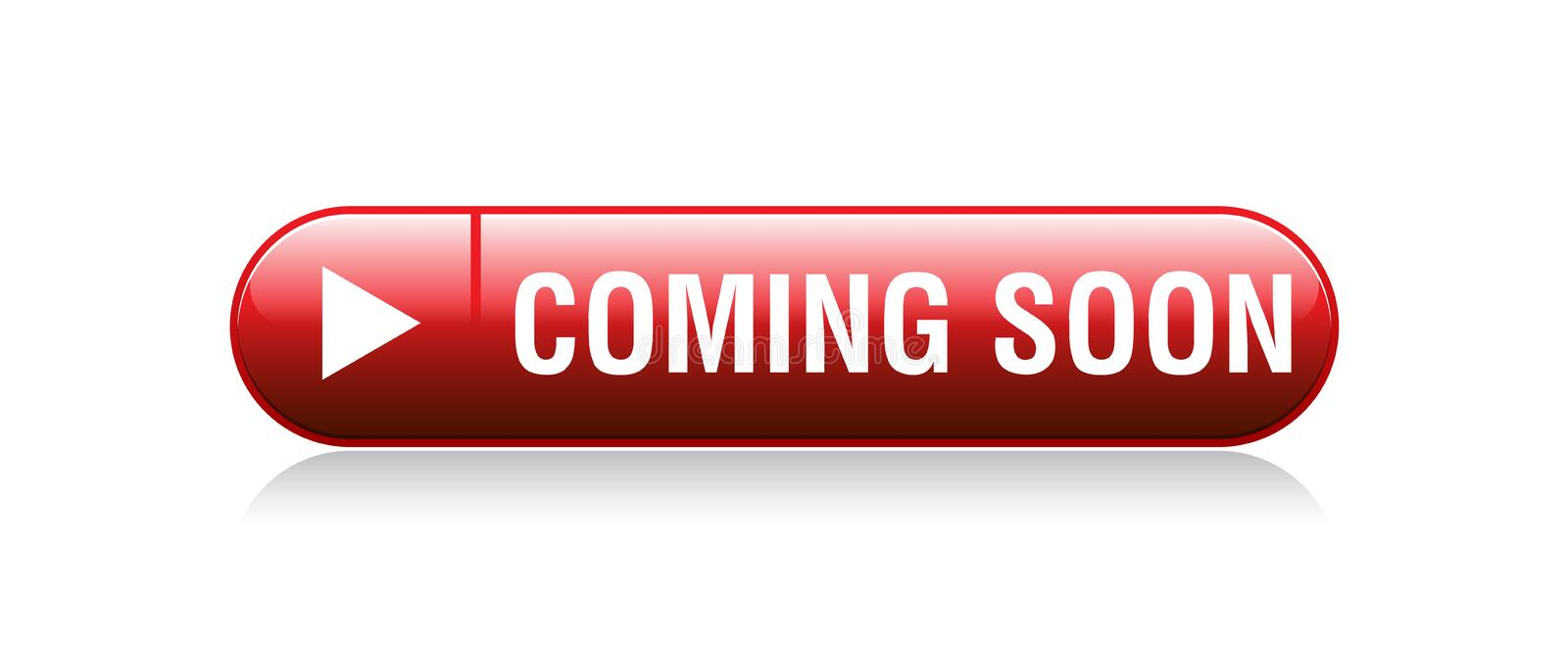 Coming soon button. Vector illustration on isolated white background - coming soon button stock illustration