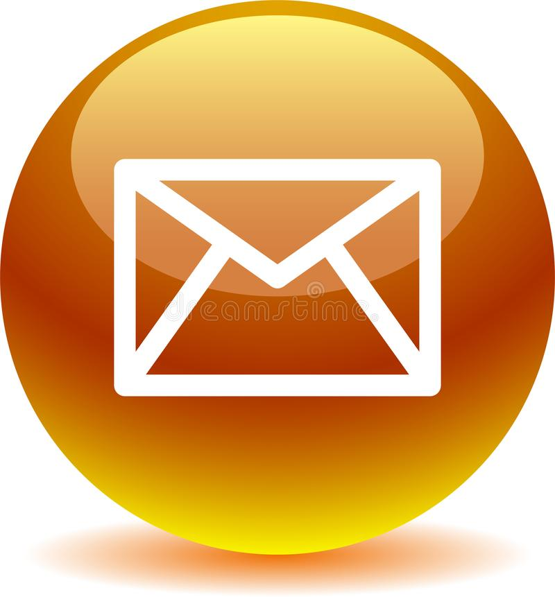Contact mail icon web buttons gold. Vector illustration isolated on white background - contact mail icon web buttons gold vector illustration