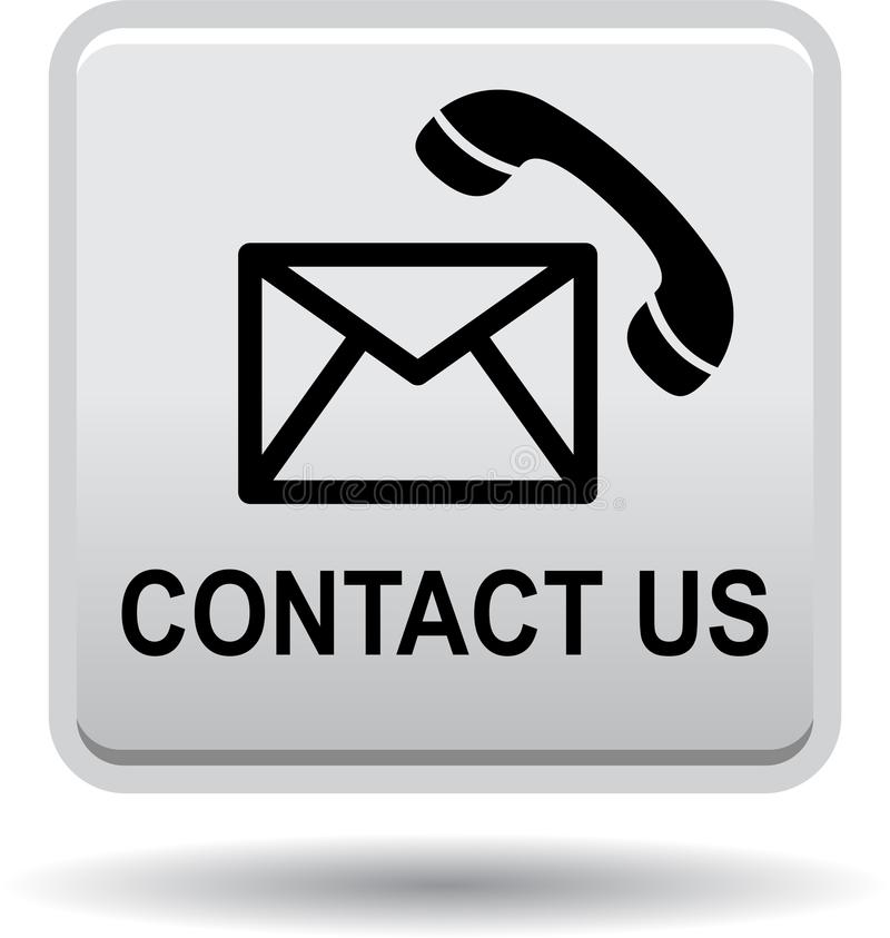 Contact us button mail call icons gray silver stock illustration