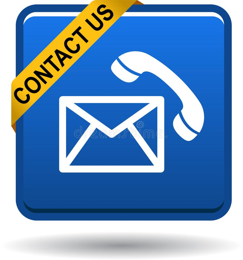 Contact us button mail call icons blue royalty free illustration