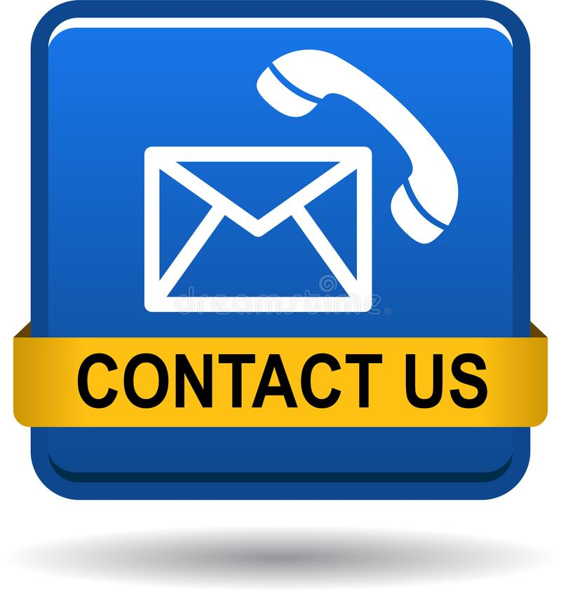 Contact us button mail call icons blue stock illustration