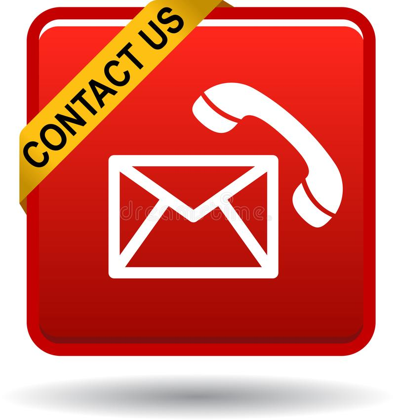 Contact us button mail call icons red royalty free illustration