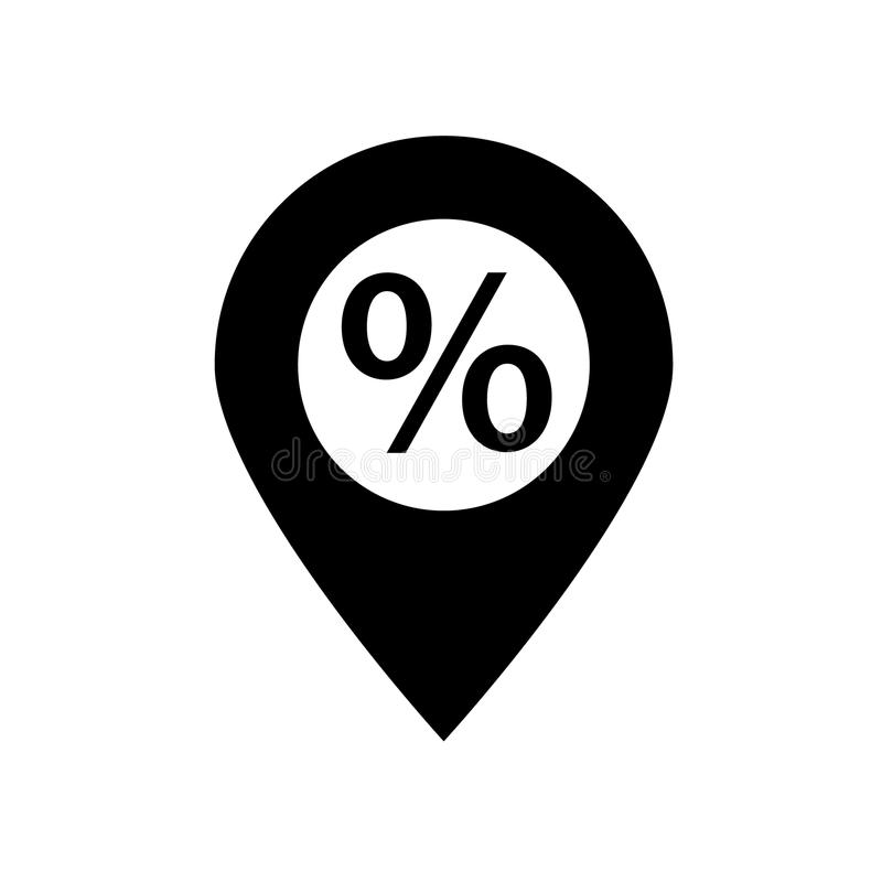 Discount icon on pin location. Vector illustration isolated on white background - Discount icon on pin location line drawing black stock illustration
