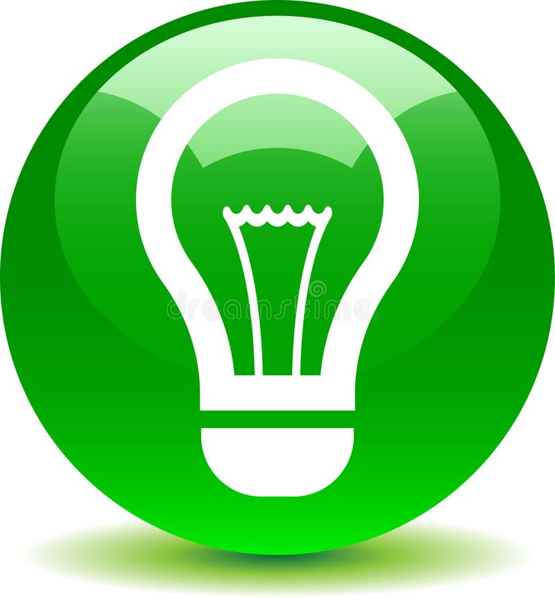 Idea bulb icon green royalty free illustration