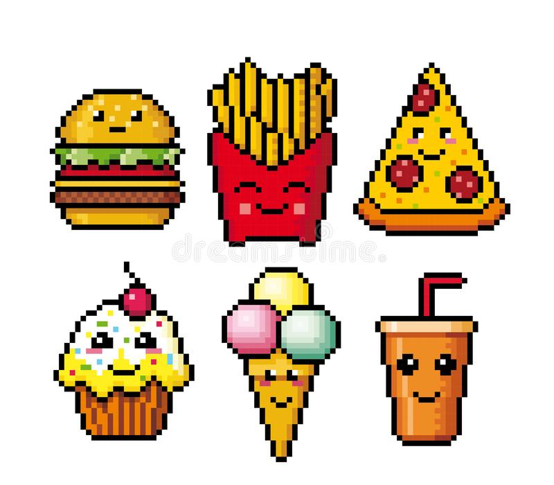 Pixel Art Fast Food Icons Vector Stock Vector Illustration Of Computer Fries 85461464