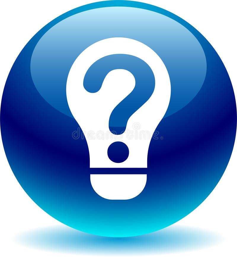 Question help idea bulb blue. Vector illustration on isolated white background - Question help idea bulb blue stock illustration
