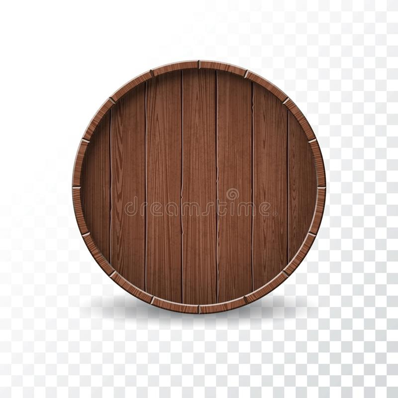 Vector illustration with isolated Wood Barrel on transparent background. royalty free illustration