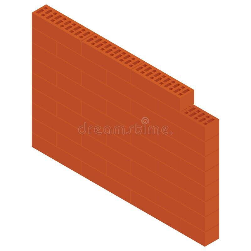 Isometric brick wall. Vector illustration isometric brick wall isolated on white background. New red perforated ceramic brick isolated on white vector illustration