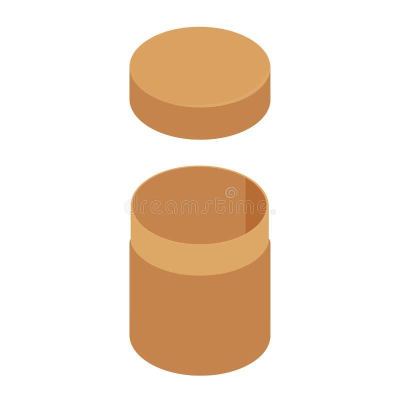 Brown cylinder box vector illustration