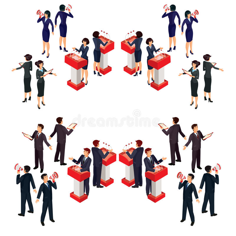 Vector illustration isometric people businessman doing a report. On the podium, with loudspeaker, reading from a sheet stock illustration