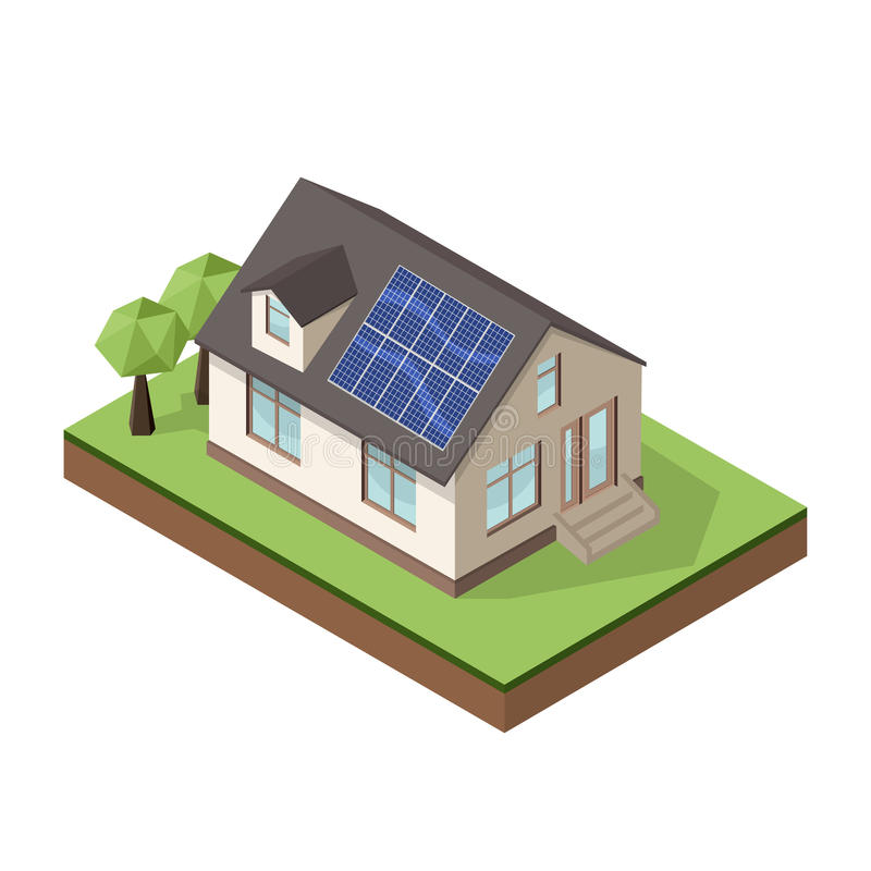 Vector illustration of isometric private cottage or house. With solar roof panels for real estate brochures or web icon stock illustration