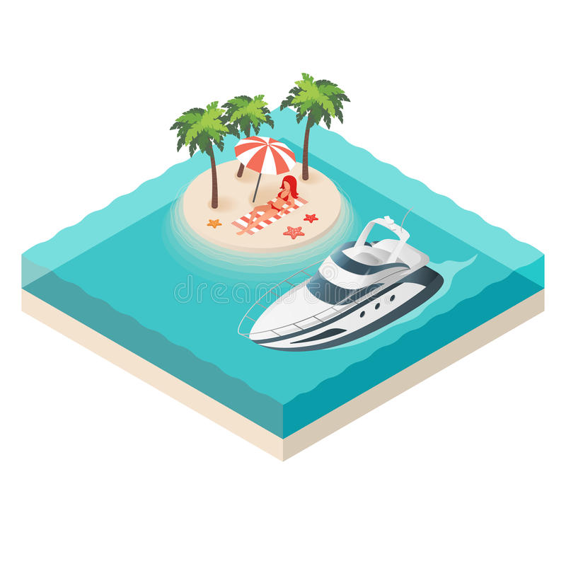 Vector illustration of isometric yacht and tropical island. Beautiful woman resting on the beach. Summer vacation stock illustration
