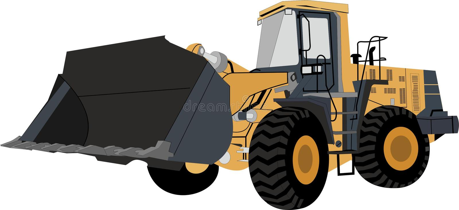 Vector illustration, isometric, yellow bulldozer tractor, construction machine, bulldozer vector illustration