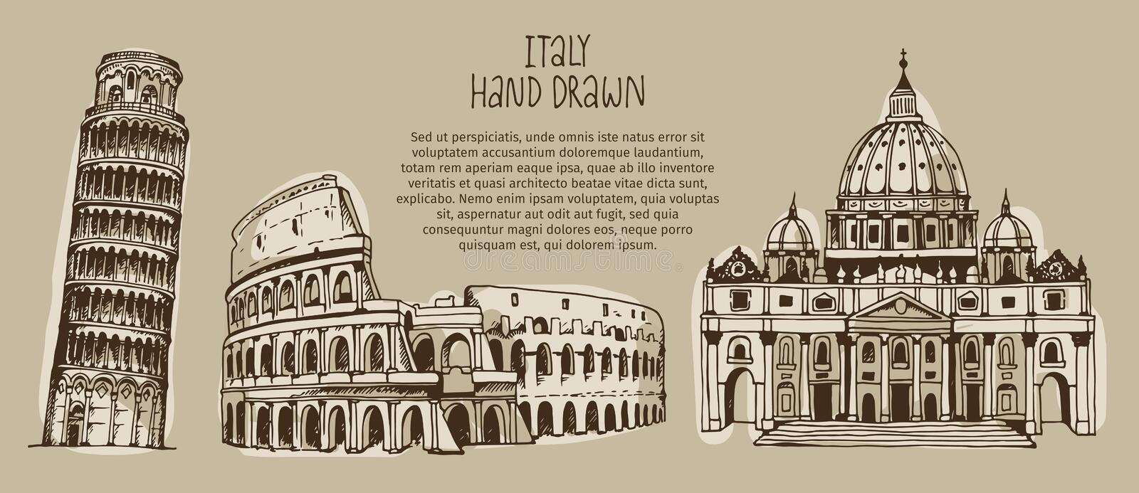Vector illustration of Italy landmarks, hand drawn Coliseum, Tower of Pisa, St. Peter`s Basilica. With place for text, vintage style vector illustration