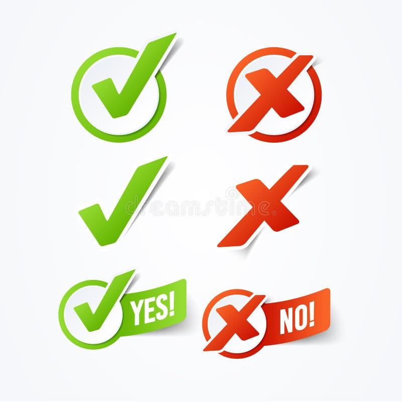 Vector Illustration ja oder keine Häkchenaufkleberaufkleber lizenzfreie abbildung