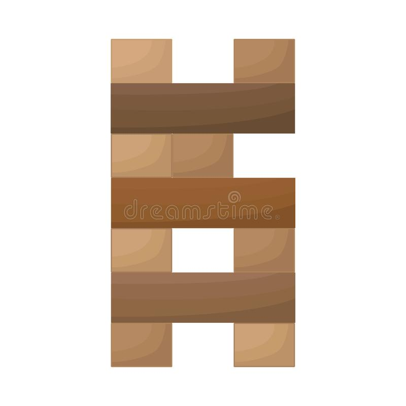 Vector design of jenga and game icon. Collection of jenga and fall stock symbol for web. stock illustration