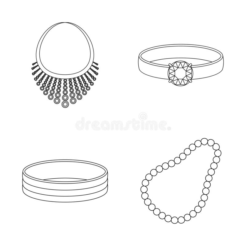 Vector illustration of jewelery and necklace icon. Set of jewelery and pendent stock symbol for web. Isolated object of jewelery and necklace symbol. Collection vector illustration