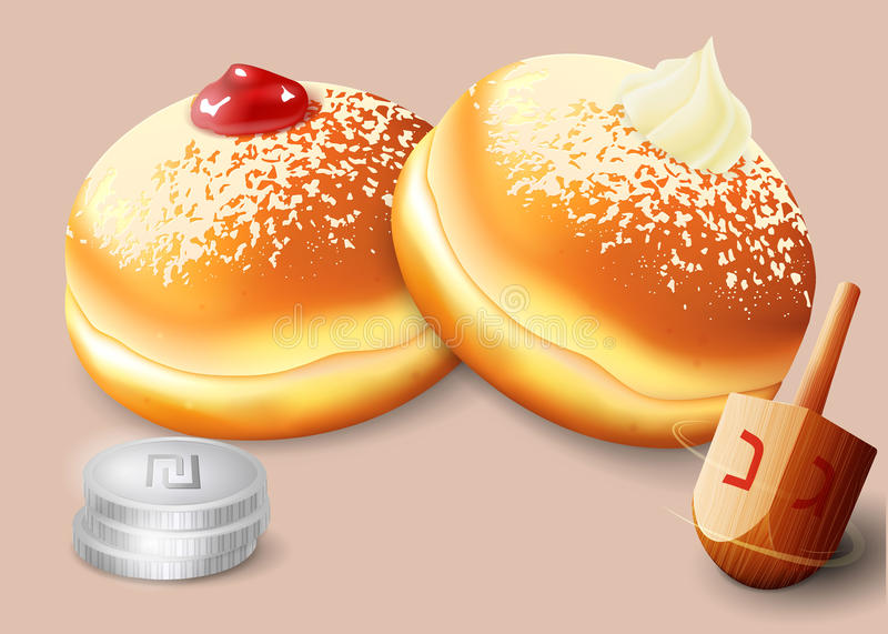 Vector illustration of jewish holiday Hanukkah. Vector illustration of jewish holiday Hanukkah with traditional donuts and wooden spinning top and coins vector illustration